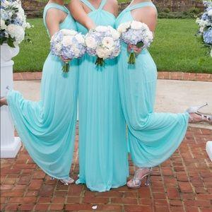 Spa blue David's Bridal bridesmaid dress